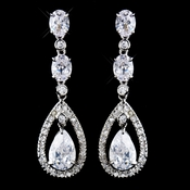 Silver Clear CZ Crystal Earrings 5878