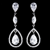 Antique Silver Clear CZ Crystal Earrings 5243