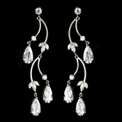 Antique Rhodium Silver Clear CZ Crystal Drop Earrings 4715