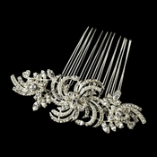 * Silver Clear Crystal & Pearl Comb 906