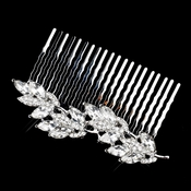 Antique Silver Clear Rhinestone Leaf Comb 5553