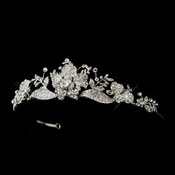 Antique Silver Clear Rhinestone Rose Tiara Headpiece 859