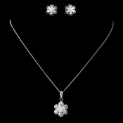 Antique Rhodium Silver CZ Crystal Flower Necklace & Earrings Jewelry Set 9972