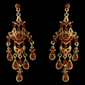 Vintage Gold Brown Chandelier Earrings E 7595