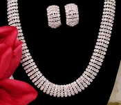 Fabulous Silver Clear Rhinestone Choker Necklace & Clip On Earring Set 8239