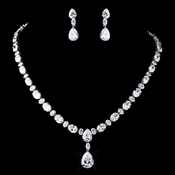 Silver Clear CZ Tear Drop Crystal Necklace & Earrings Jewelry Set 8972