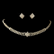 Gold Clear Rhinestone Choker Necklace & Earrings Set 13041