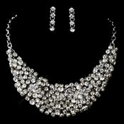 Antique Silver Clear Rhinestone Necklace & Earrings Set 9962