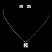 Antique Rhodium Silver Princess Cut CZ Crystal Pendent Necklace & Earrings Set 9968