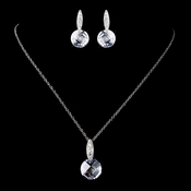 Antique Rhodium Silver Crystal & CZ Crystal Pendent Necklace & Earrings Set 9969