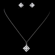 Solid 925 Sterling Silver Square CZ Crystal Pendent Drop Necklace & Earrings Jewelry Set 9980