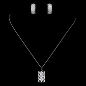 Sterling Silver Clear CZ Crystal  Pendent Drop Necklace & Earrings Jewelry Set 9981