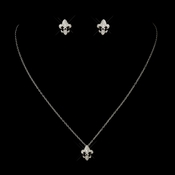 Silver Clear Fleur De Lis Rhinestone Necklace 8120 & Earrings 9249 Jewelry Set