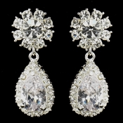 "Silver Clear ""Kim Kardashian"" Inspired Crystal Earrings 1538"