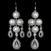 Antique Silver White Chandelier Rhinestone & Pearl Earrings 40065