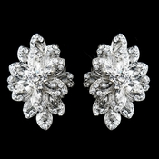 Antique Silver Clear Rhinestone Clip On Earrings 8944