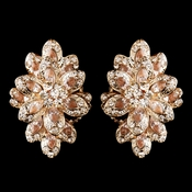 Rose Gold Champagne Rhinestone Clip On Earrings 8944