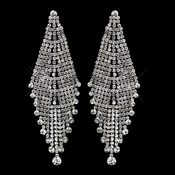 Antique Silver Clear Rhinestone Dangle Chandelier Earrings 8945
