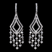 Antique Silver Clear CZ Crystal Chandelier Earrings 9002