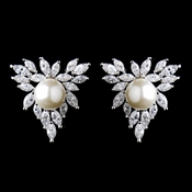 Antique Silver CZ Crystal Marquise & Diamond White Pearl Earrings 9967