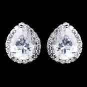 Solid 925 Sterling Silver CZ Crystal Teardrop Earrings 9990