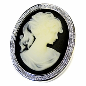 * Antique Silver Black & Vanilla Cameo Brooch 159