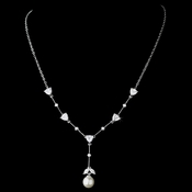 Antique SilveFW Pearl & CZ Crystal Necklace N 3732
