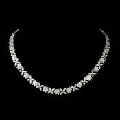 Antique Silver Rhodium Clear Floral CZ Stone Necklace 8104