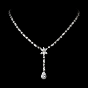 Charming Atnique Silver Clear CZ Crystal Dangle Necklace 9000