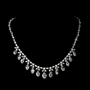 Antique Silver Clear CZ Crystal Dangle Necklace 9005