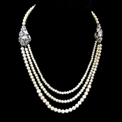 Antique Rhodium Silver 3 Rows Ivory Pearl Necklace 9859