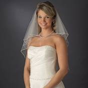 Exquisite Elbow Length Bridal Veil with Sequence & Bugle Beaded Edge in White or Ivory 643