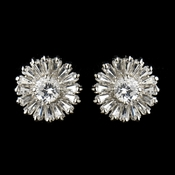 Silver Clear CZ Stud Bridal Earrings 3200