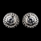 Vintage Silver CZ Clear Stud Earrings 3587