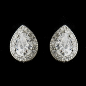 Antique Silver Clear CZ  Crystal Post Tear Drop Bridal Earrings 8747