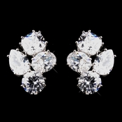 Beautiful Antique Silver Clear CZ Stud Earrings 5972