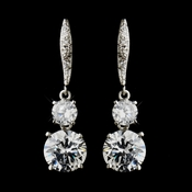 Silver Clear CZ Crystal Bridal Dangle Bridal Earrings 8679