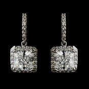 Silver Clear CZ Crystal Bridal Drop Bridal Earrings 9248