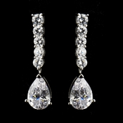 Antique Silver Clear CZ Crystal Post Bridal Earrings 8653