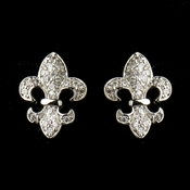 Silver Clear CZ Crystal Fleur De Lis Stud Bridal Earrings 9249