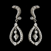 Antique Silver CZ Kate Middleton Bridal Wedding Earrings 9254