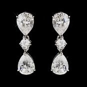 Silver Clear CZ Crystal Dangle Tear Drop Bridal Earrings 3606