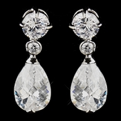 Silver Clear CZ Crystal  Bridal Dangle Bridal Earrings 5428