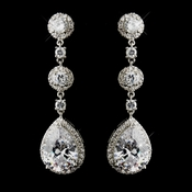 CZ Dangle Tear Drop & Round Crystal Dangle Bridal Earrings 8676 (Silver or Gold)