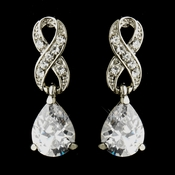 Silver Clear Love Knot CZ & Austrian Crystal Drop Bridal Earrings 9243