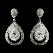 Antique Silver Clear CZ Dangle Drop Bridal Earrings 5530