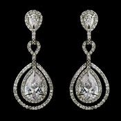 Antique Silver Clear CZ Crystal Dangle Bridal Earrings 8484 (1 left in stock)