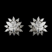 Antique Silver Clear CZ Sunflower Bridal Earrings 5901