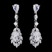 Beautiful Antique Silver Clear CZ Teardrop Earrings 9060