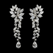 Silver Clear Tear Drop Marquise CZ Crystal  Bridal Earrings 1655 (Clip On or Pierced)